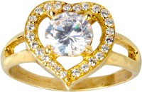 Spangel Fashion Real Love Heart With Diamond Brass 23K Yellow Gold 23 K Ring