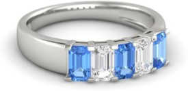 Roop Jewellers Emerald Cut Sterling Silver Cubic Zirconia 18K White Gold Ring