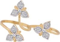 Neelam Designer Adjustable American Diamond Double Finger Twotone Brass Ring
