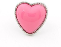 Cinderella Collection By Shining Diva Pink & Silver Coloured Bead Alloy Ring