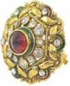 Aakshi Contemporary Green Red Alloy, Metal Ring