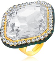 Sukkhi Intricately Designer Traditional Cocktail Gold Plated American Diamond Alloy 18K Yellow Gold Ring