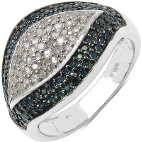 Johareez 0.61CTW Genuine Blue Diamond & White Diamond .925 Sterling Silver Ring Silver Diamond Sterling Silver NA K Ring