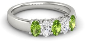 Roop Jewellers Oval Cut Diamond Sterling Silver Cubic Zirconia 18K White Gold Ring