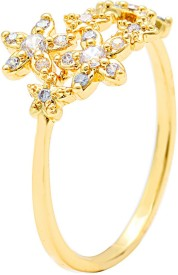 Sparkling Drop Celestial Finger Bands Alloy Cubic Zirconia Yellow Gold Ring