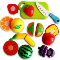 Meeras Realistic Sliceable Fruits Cutting Play Toy Set With Velcro - Pretend Play Educational Toysfor Kids And Children 7pc (color May Vary)