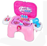Just Toyz Carry Along Beauty Set For Kids 2-in-1 Storage Cum Chair Stool Play Kit (color May Vary)