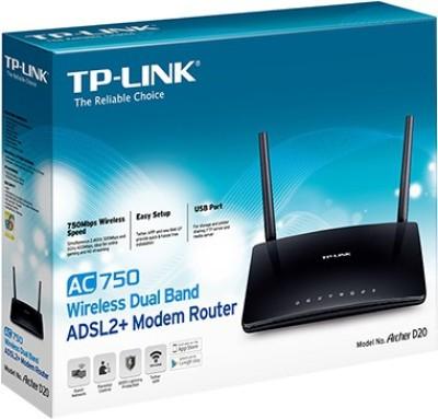 TP-Link Archer D20 AC750 Wireless Dual Band ADSL2+ Modem Router (Black)
