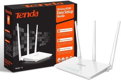 Tenda F3 300mbps Wireless Router, With 3 Fixed Antenna, 3lan, 1wan Port (White)