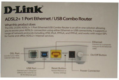 D-Link ADSL2+ 1 Port Ethernet/USB Combo Router (White)