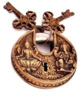 Indigo Creatives Diwali Vastu Antique Gold Look Goddess Lakshmi + Lord Ganesha Safety Lock - Gold