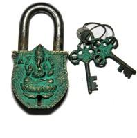 Unravel India Ganesha Brass Safety Lock - Black, Green-105