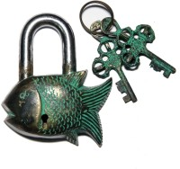 Unravel India Fish Brass Safety Lock - Black, Green-105