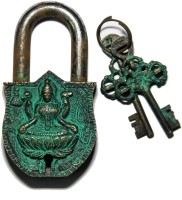 Unravel India Lakshmi Brass Safety Lock - Black, Green-105