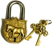 Unravel India Horse Brass Safety Lock - Gold-98