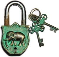 Unravel India Elephant Brass Safety Lock - Black, Green-105