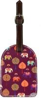 The Elephant Company Plum Elephants Carnival Luggage Tag Plum