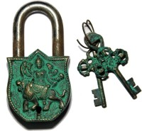 Unravel India Durga Brass Safety Lock - Black, Green-105