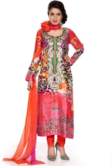 Charming Floral Print Churidar Suit - SWDE6ZVGFXTZG2YR