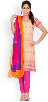EthnicQueen Cotton Floral Print, Solid Salwar Suit Dupatta Material Un-stitched