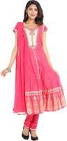Sudarshan Silks Solid, Self Design, Printed Anarkali Suit
