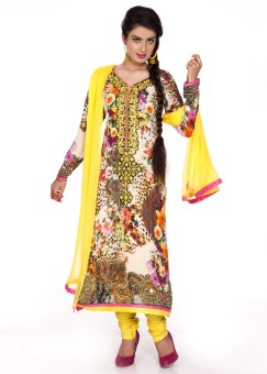 Charming Floral Print Churidar Suit - SWDE6ZVGAHHCBFH2