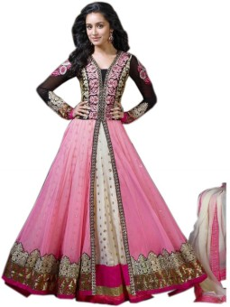 AahnaFashion Georgette, Net Embroidered Semi-stitched Salwar Suit Dupatta Material Semi-stitched