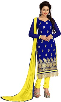 Sarees House Georgette Solid, Embroidered Salwar Suit Dupatta Material Un-stitched