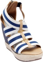 Catwalk Women Blue, White Wedges Blue, White