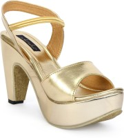 Funku Fashion Women Gold, Gold Heels Gold, Gold