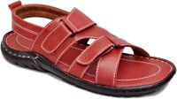 Leo Looks Men Red Sandals Red