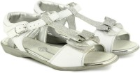 Clarks Orra Noon White Leather Girls Silver, White Sports Sandals Silver, White
