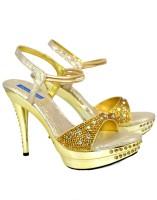 Blue Parrot 1241 Gold Women Gold Heels Gold