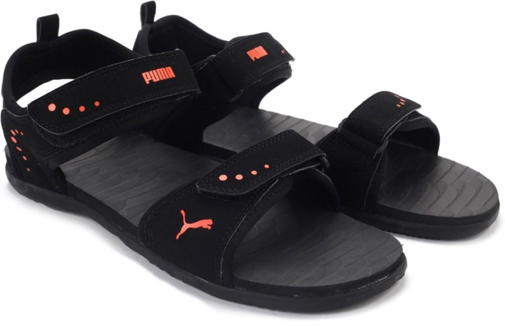 Puma Men Black Orange Sports Sandals Black Orange