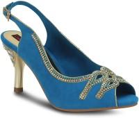 Get Glamr Blue Peep Toe Women Heels