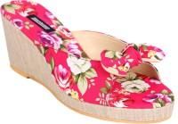 Karizma Shoes Women'S Designer Floral Pink Wedges