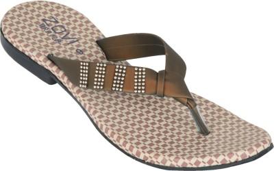 Zovi Zovi Beige With Brown Straps Flats (Beige\/Sand\/Tan)