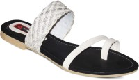 Sapatos Women Black, White Flats Black, White