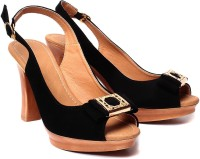 Ruby Black Block Women Black, Beige Heels Black, Beige