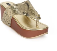 Funku Fashion Women Gold, Gold Wedges Gold, Gold