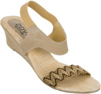 Zovi Beige With Designed Toe Strap Women Wedges