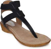 Do Bhai Ankle-Sandal-Black Wedges