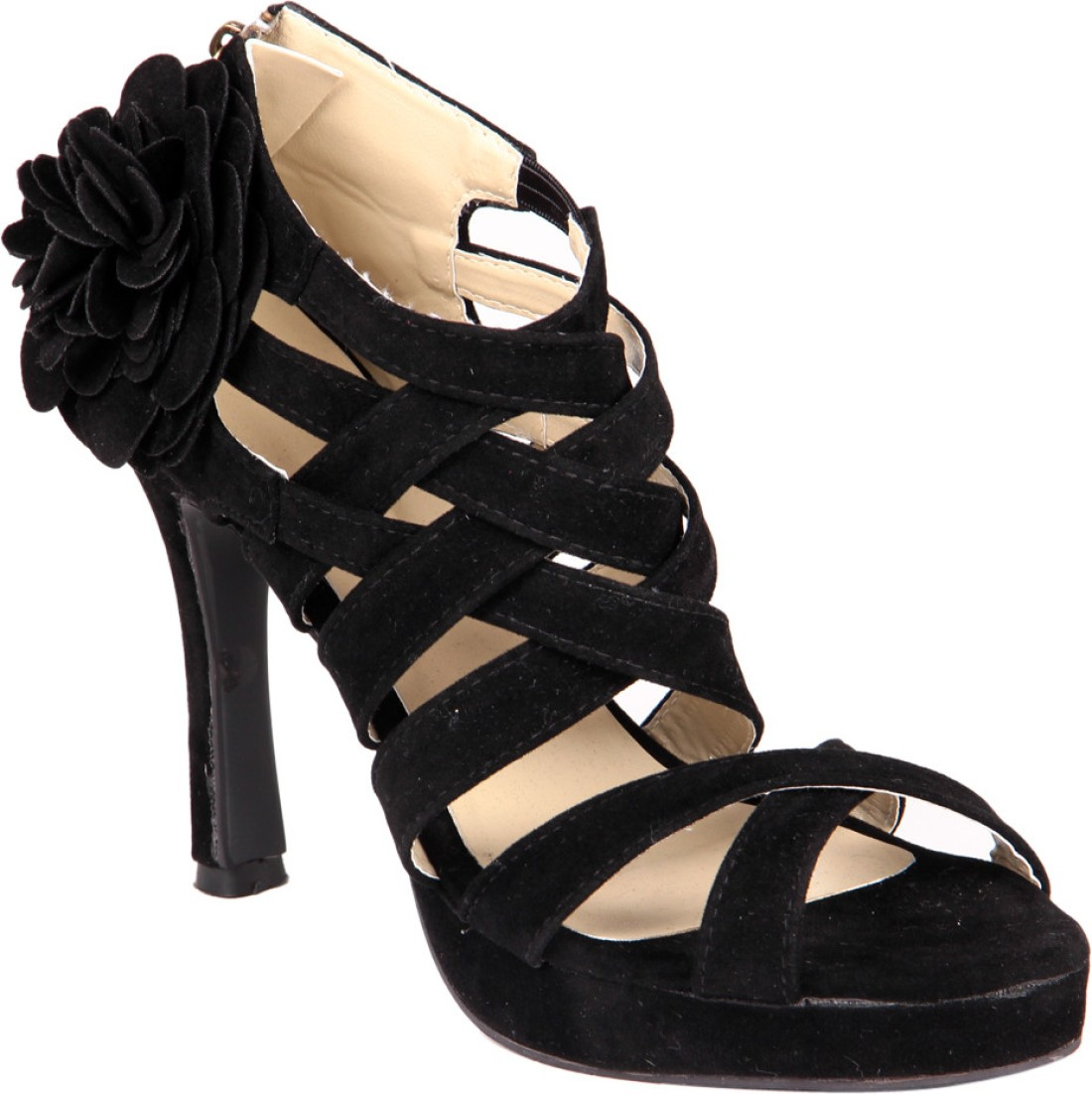 Soft & Sleek Black Suede Flower Girls Heels - Buy Black ...