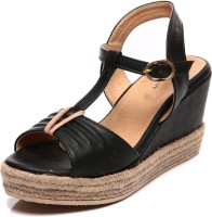 Marc Loire Haley Black Open Toe Men Women Wedges
