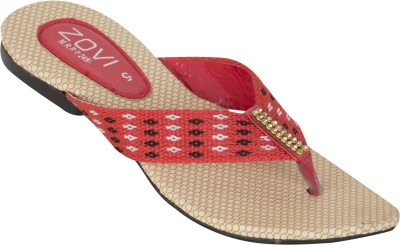 Zovi Zovi Flat Beige And Red Textured Sole Embellished Flats (Multicolor)