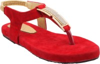 ALKAWAL Girls Red Sandals Red