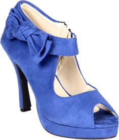Soft & Sleek Blue Suede Side Tie Girls Heels