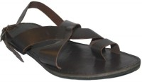 Authority Dual Cross Brown Leather Sandals