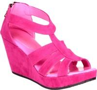 Soft & Sleek Pink Suede Strap Wedges