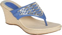 Niremo Blue Stunning Synthetic Leather Wedges